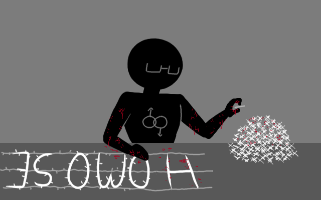 """The male silhouette is shown with the barbed wire reading """"HOMOSEXUAL"""". He is removing the individual barbs, and obtained cuts from doing so. He is shown with a double, linked mars symbol on his chest."""