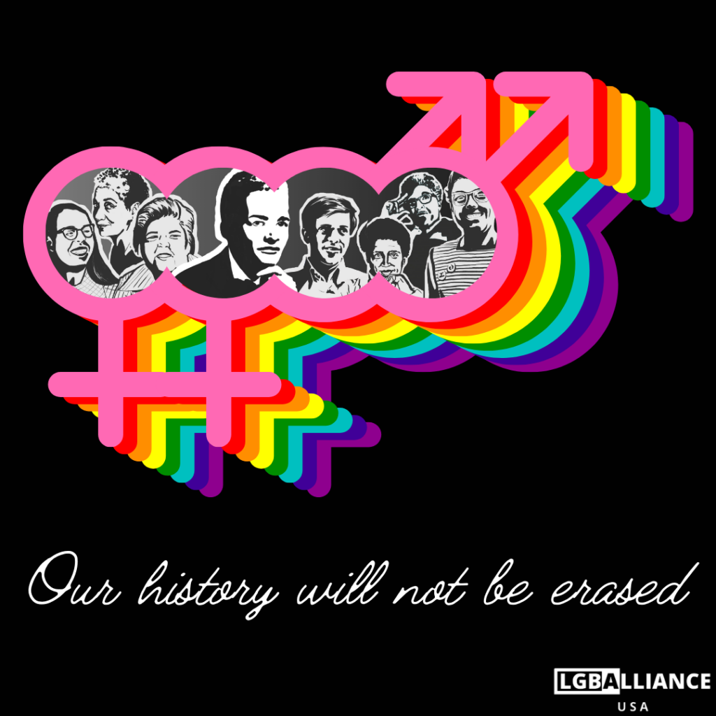 """An image featuring LGB (i.e. lesbian, gay, bisexual) historical figures: Phyllis Lyon, June Jordan, Del Martin, Stormé DeLarverie, Craig Rodwell, Audre Lorde, Bayard Rustin, and Barbara Gittings. They're images are framed in rainbow double venus and double mars symbols, symbolizing same sex attraction. The words """"Our history will not be erased"""" is shown."""