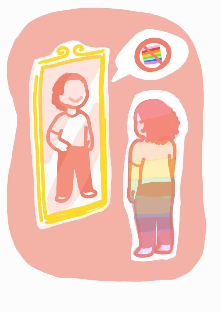 """Image of a girl with the Pride Rainbow colors overlaid on her, as she looking into a mirror. The mirror reflects an image of herself in a more confident, hands-on-hip stance, with an off-putting grin. There is a """"speech"""" bubble that is coming from this reflection, and the bubble has an image of a Pride flag crossed-out by a red circle and slash (the prohibition symbol)."""