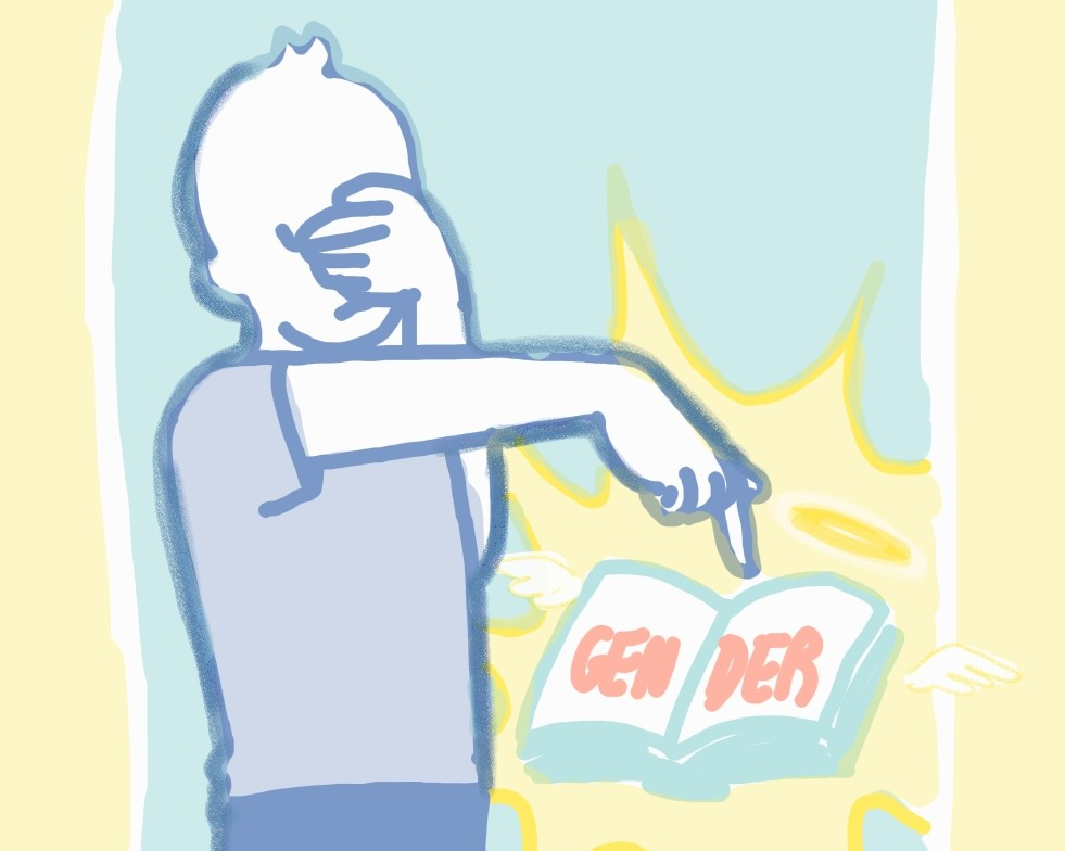 """Image of a boy covering his eyes with one hand, and using the other hand to point to a glowing-yellow, open book that reads """"GENDER"""". The book has small white wings and a halo."""